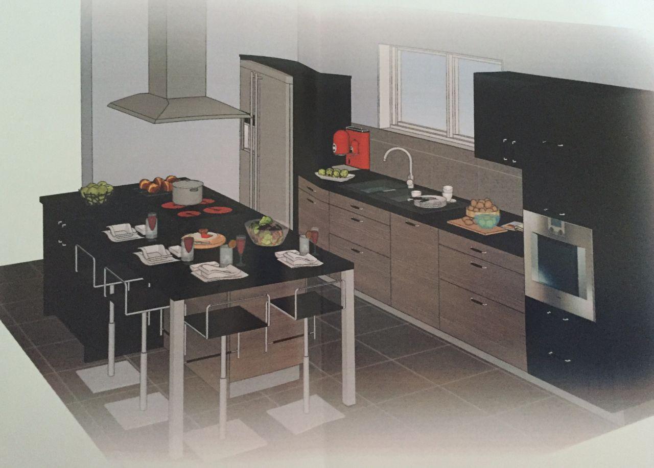 Plan 3D cuisine avec îlot central et intégration de notre frigo américain (photo un peu tordue car prise avec un téléphone portable)