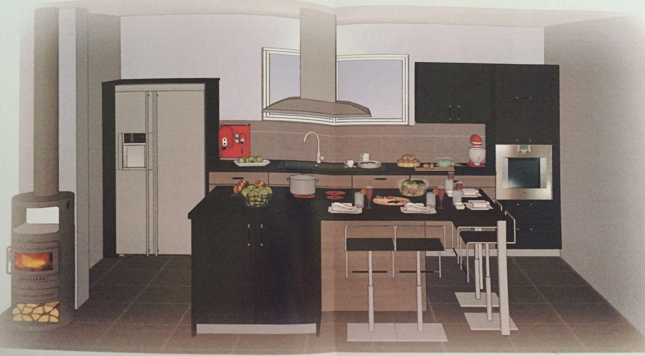 Plan 3D cuisine avec îlot central et intégration de notre frigo américain (photo un peu tordue car prise avec un téléphone portable) - Vue depuis la salle à manger