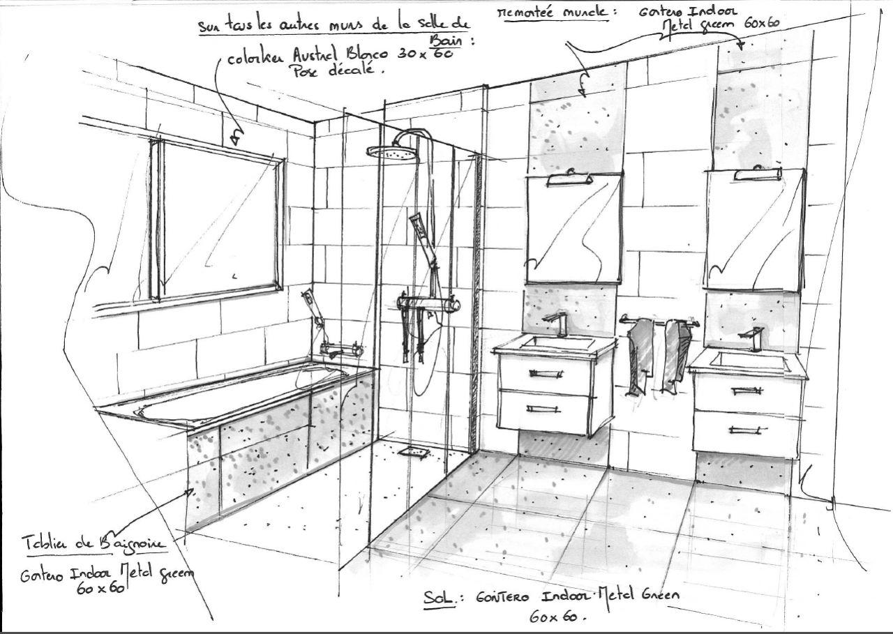 Photo croquis salle de bain du haut d coration salle for Croquis de salle de bain