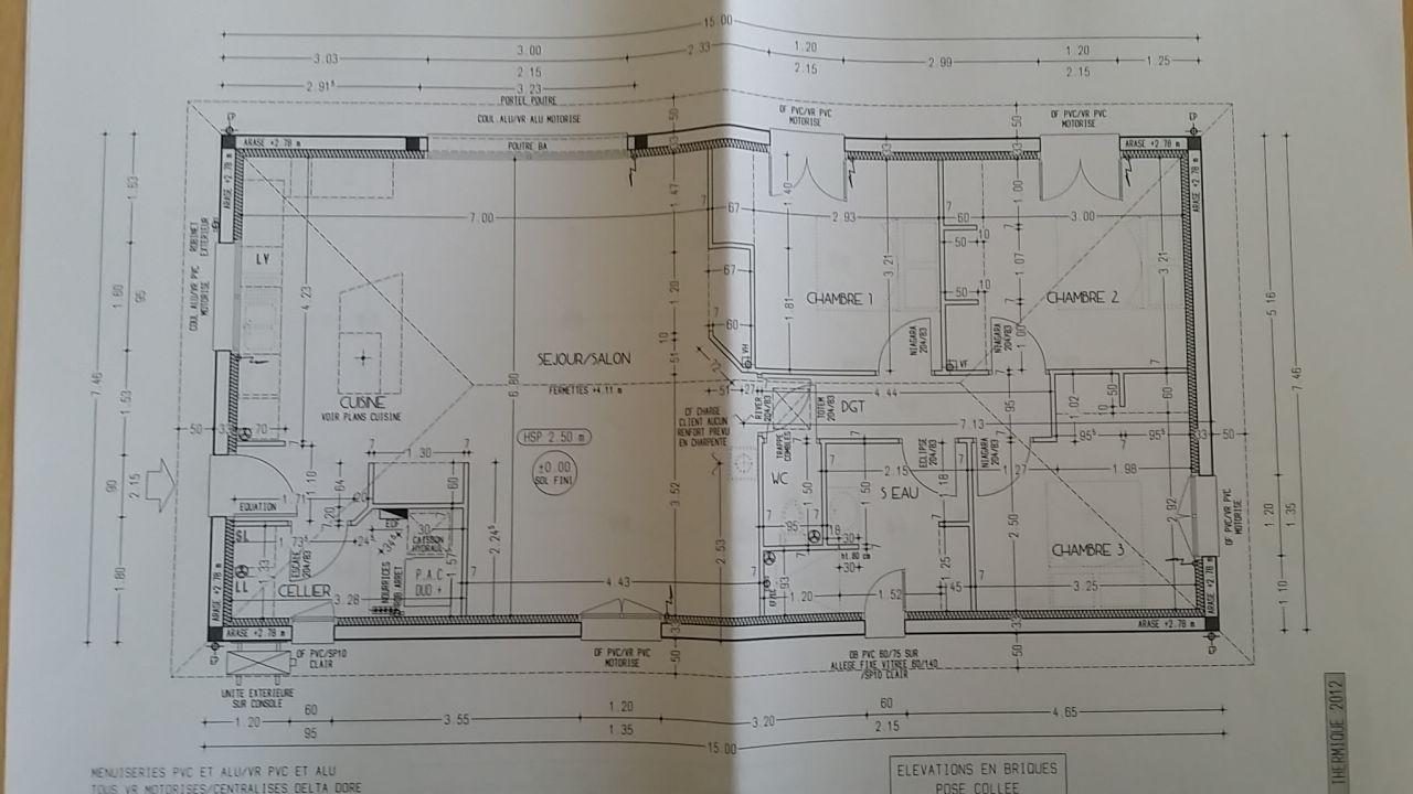 Plan d'éxécution erroné (porte WC à l'envers, placard ch 1 trop profond...)