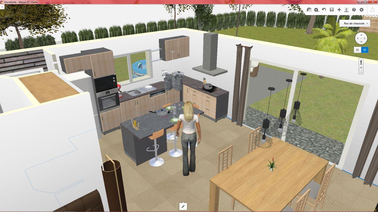 plan 3D pièce à vivre cuisine