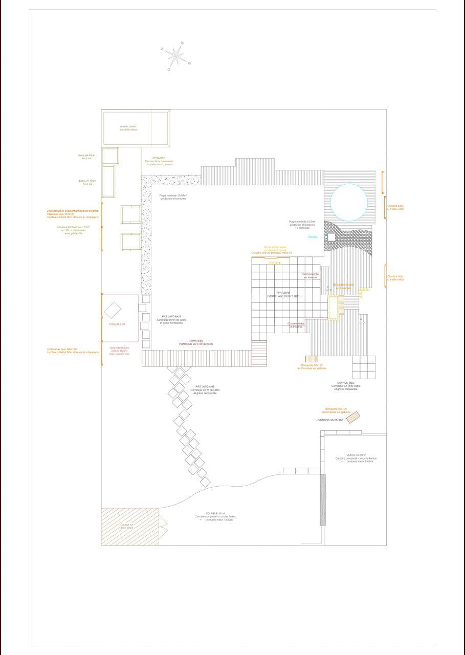 Projet d 39 am nagement ext rieur plan jardin plus lisible for Projet amenagement exterieur