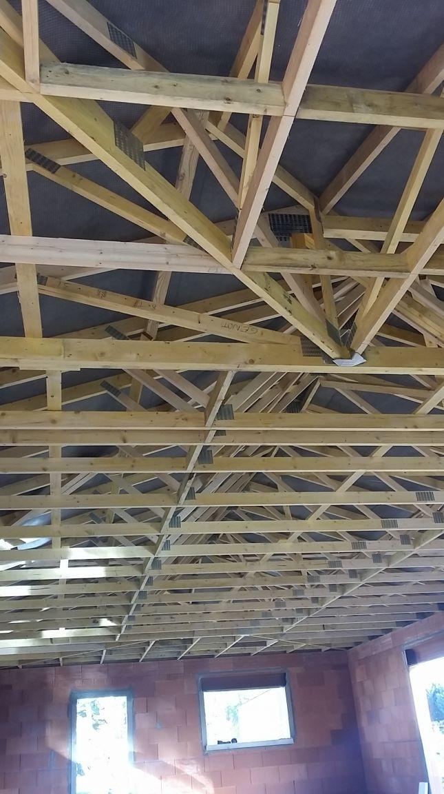 Vue intérieure <br /> Charpente et film sous toiture