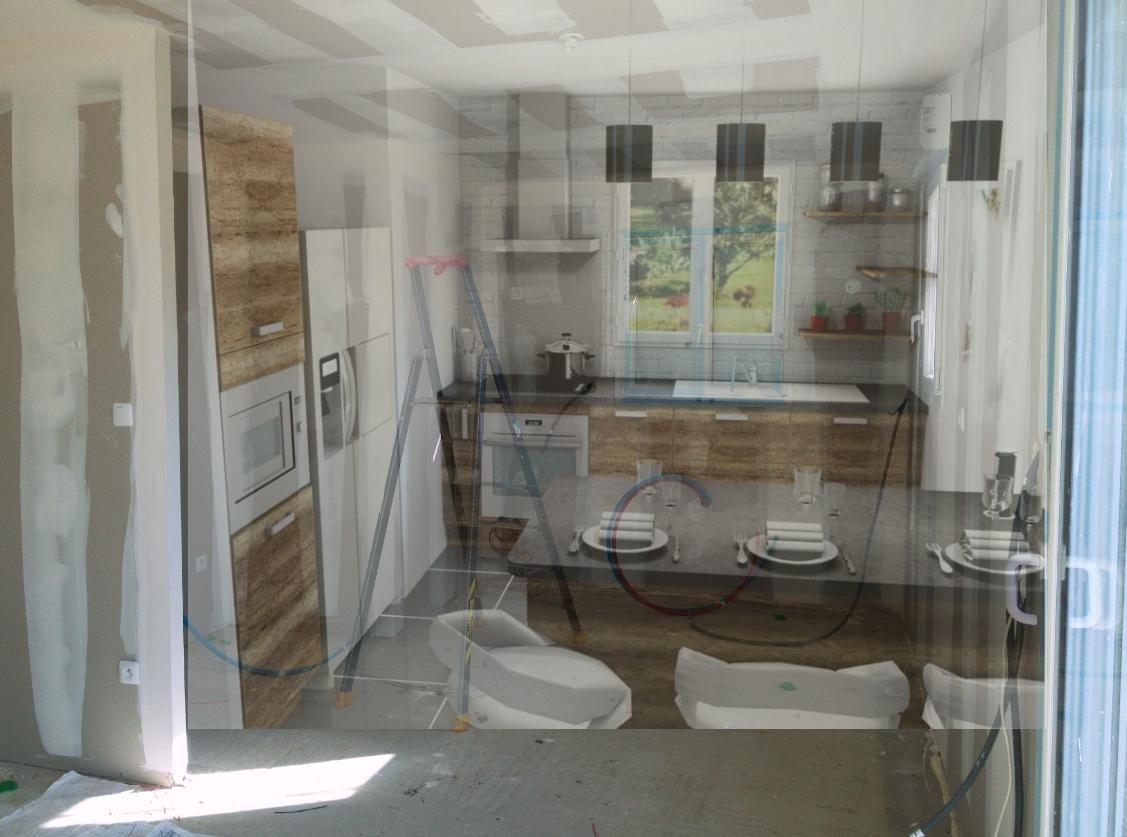 Photomontage de la cuisine. Image de la cuisine en cours de travaux d'électricité, superposé à une photo de la cuisine sur plan.