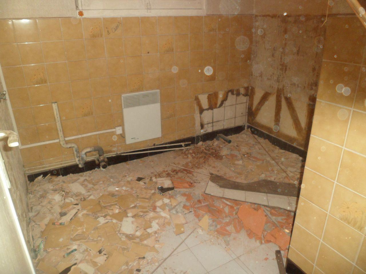 Salle de bains vidée. Elle sera cassée pour devenir un couloir et un WC.
