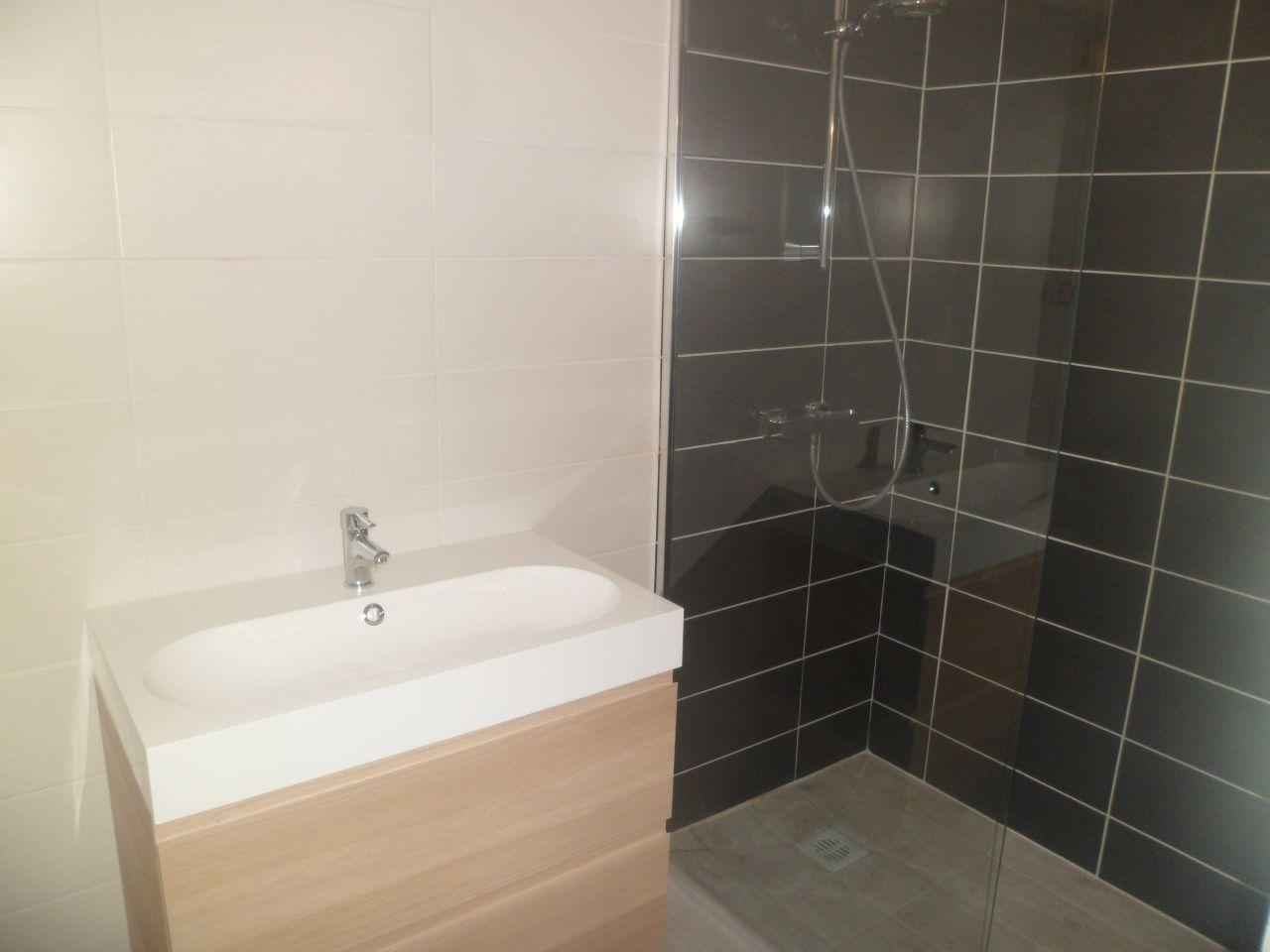 Installation de la paroi de douche et de la vasque.