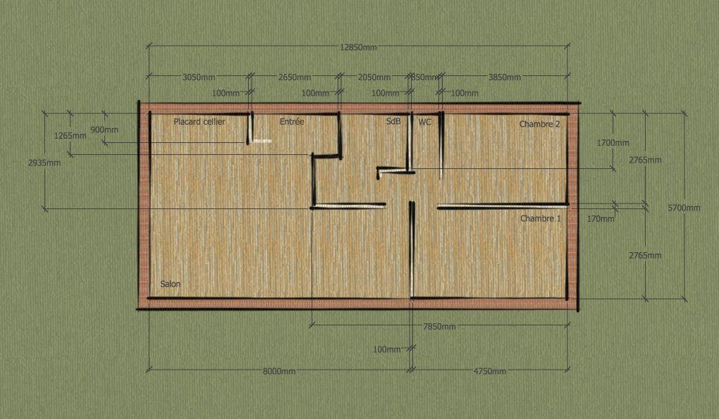 Plan 2D de l'intérieur avec la disposition des pièces