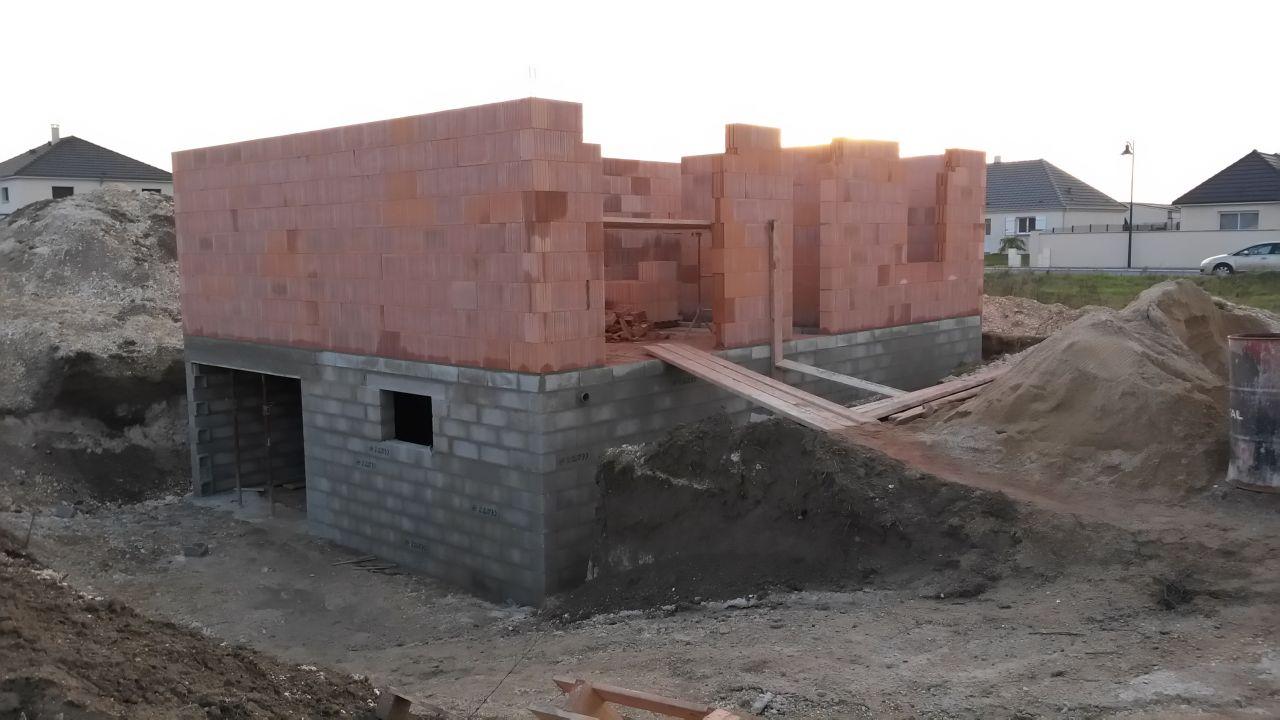 Élévation des murs du Rez de chaussée