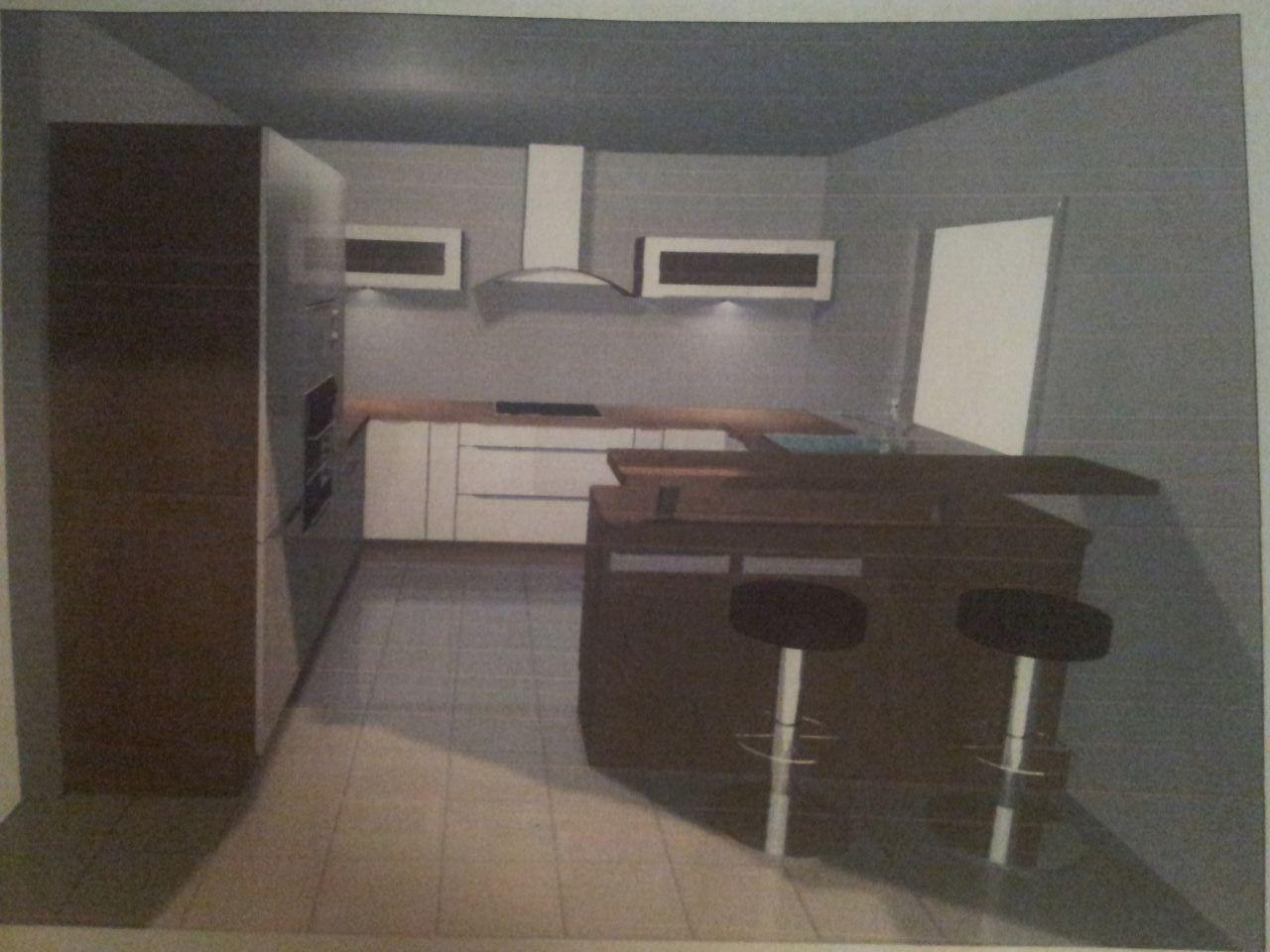 photo vue 3d de notre simulation de cuisine chez but vue depuis le s jour le rendu de. Black Bedroom Furniture Sets. Home Design Ideas