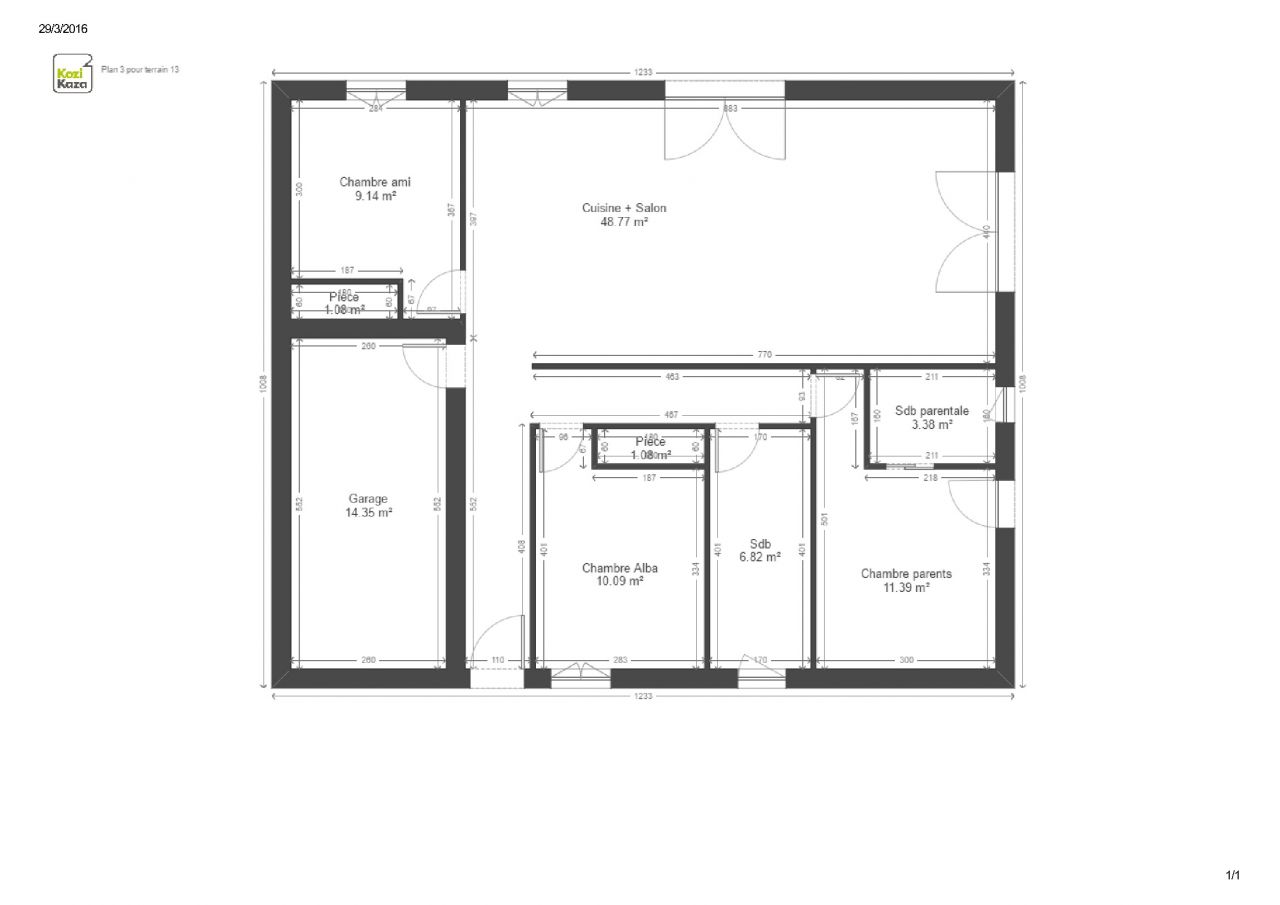Maison plain pied de 93m2 garage sur terrain de 479 m2 for Plan maison garage a droite