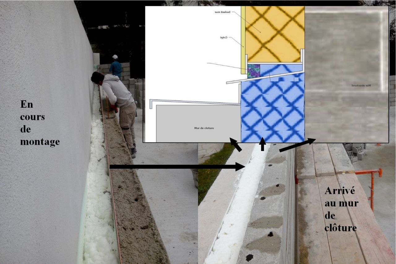Schéma de principe et photos de l'isolation par l'extérieur du mur mitoyen. Mousse polyuréthane lambda 0,024 / 16cm / R = 6,66
