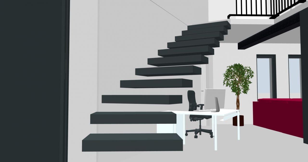 Escalier suspendus, marche beton