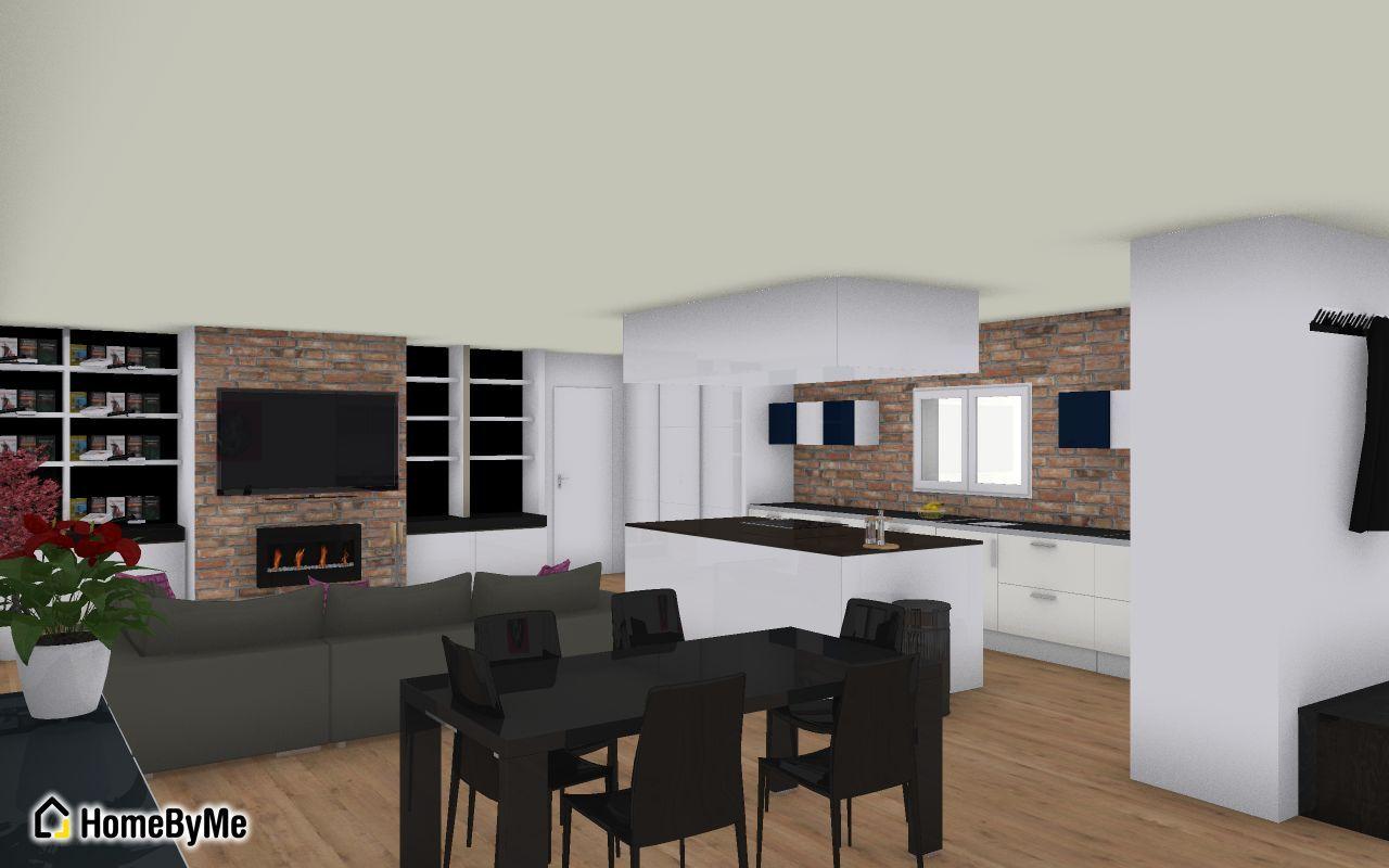 Salon SAM CUISINE <br /> NB : il n'y aura pas de mur en pierre dans la cuisine