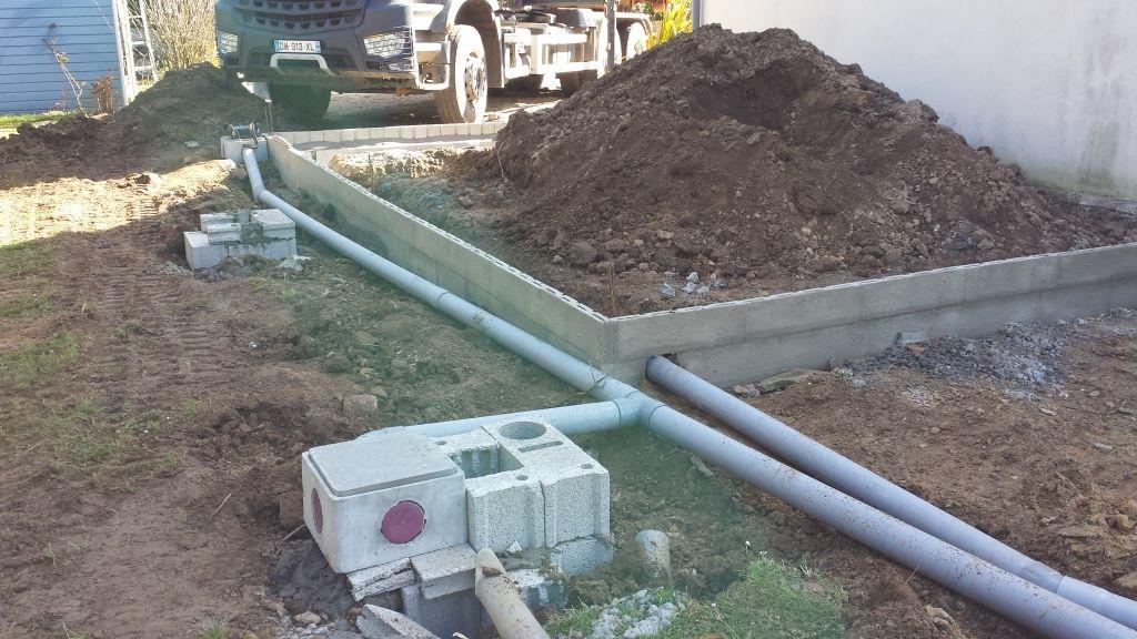 préparation tuyauterie eaux usées et eaux de pluie
