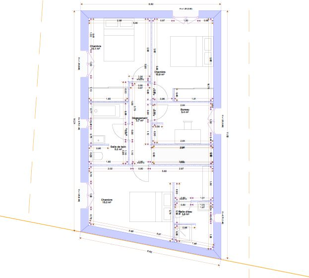 Plans quasi-définitifs avant passage au bureau d'étude et chez l'architecte conseil du lotisseur