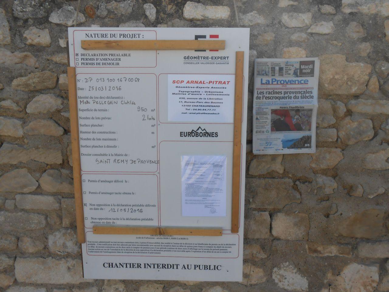 Obtention dp de division pi ces manquantes au permis d claration d 39 intention d 39 ali ner st - Panneau affichage declaration prealable ...