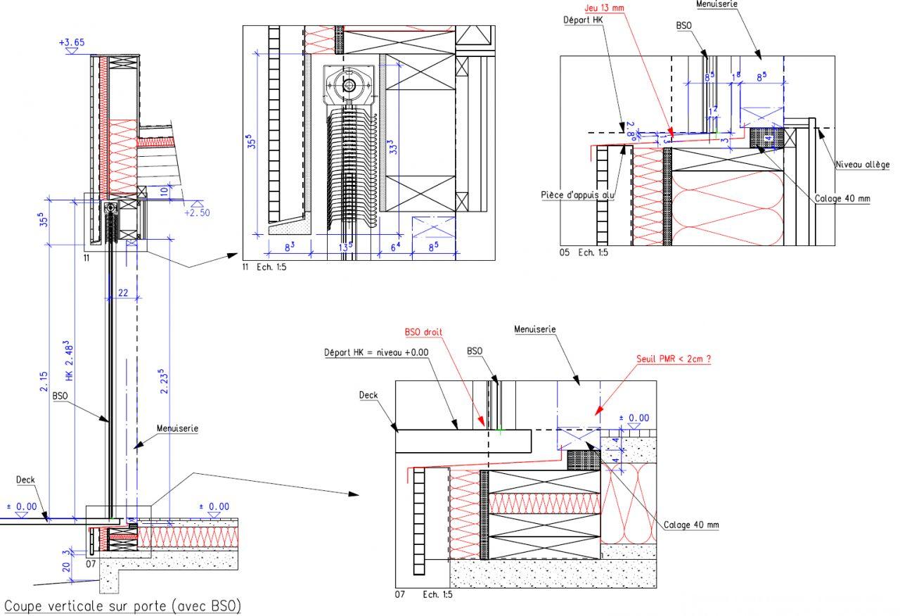 Photo détail coupe ossature bois  Elévation des murs  ~ Coupe Ossature Bois
