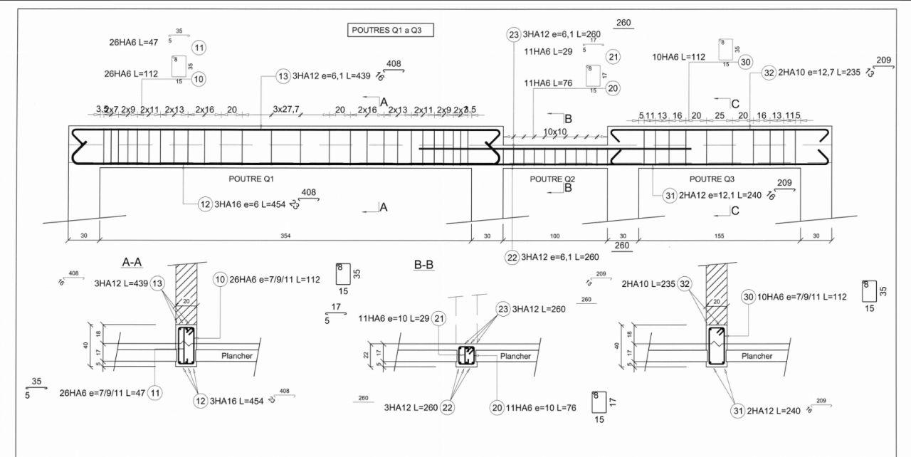 Plan de ferraillage des poutres