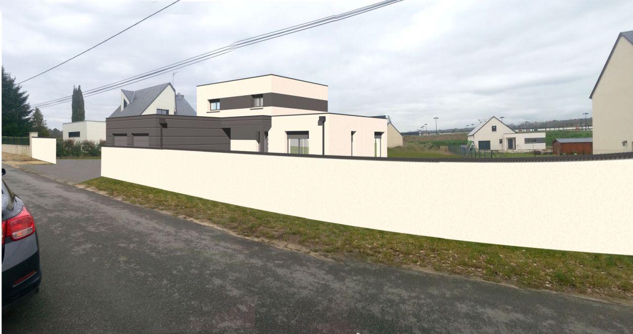 Vue 3D de la maison insérée sur la photo du terrain avec le mur