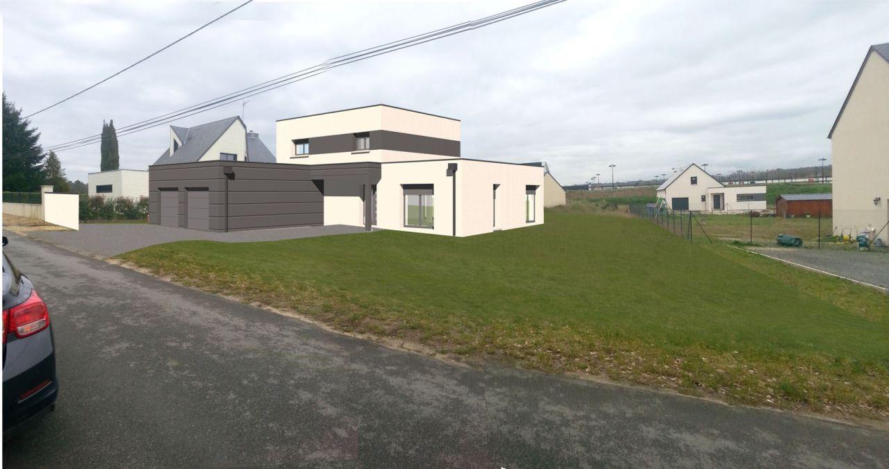 Vue 3D de la maison insérée sur la photo du terrain sans le mur