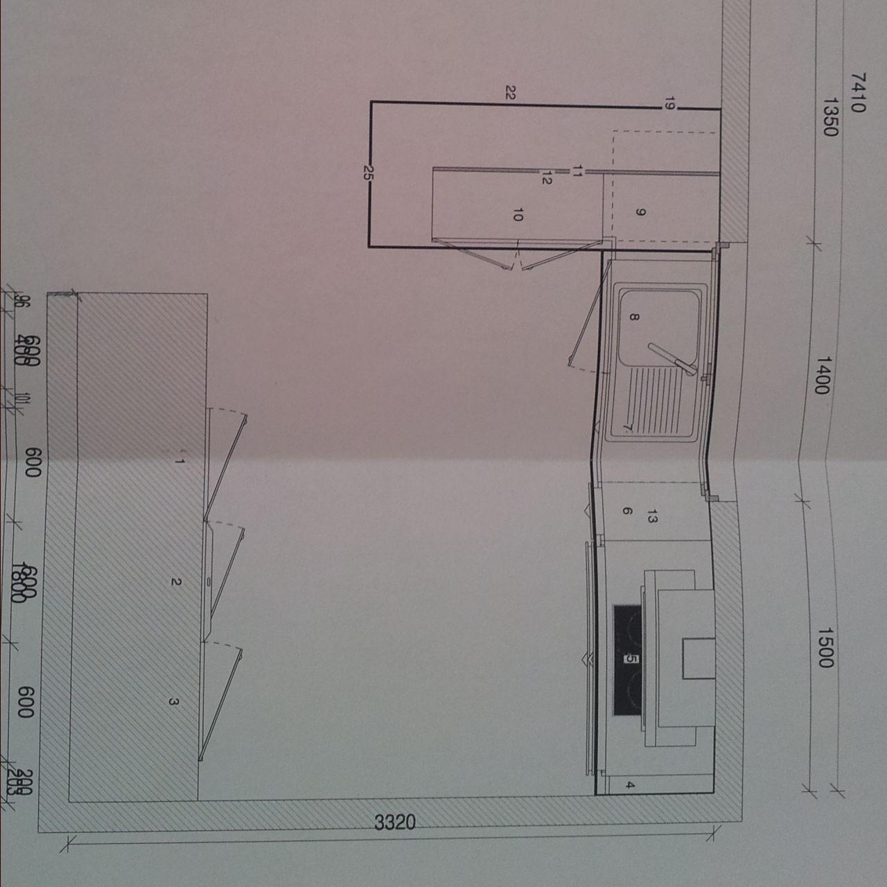 Plan de notre future cuisine ouverte (Cuisinella)