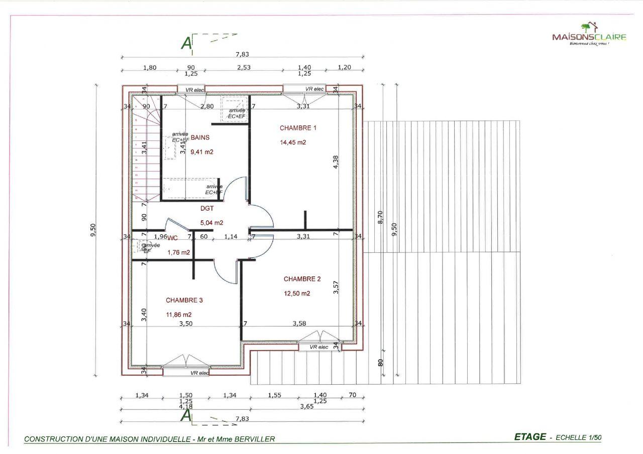 plan étage <br /> avec sdb agencée différemment