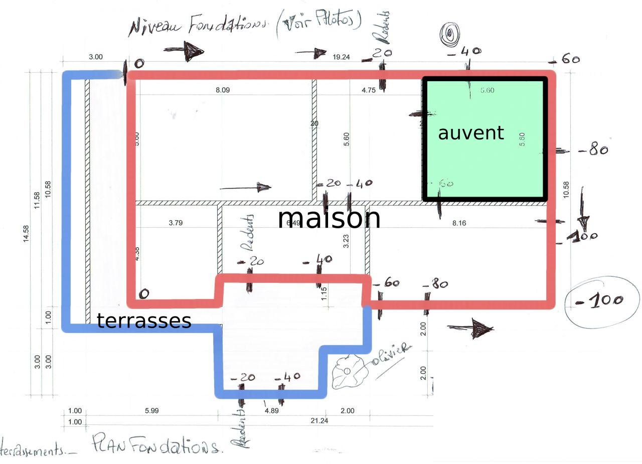 Nouveau plan des terrasses et maison