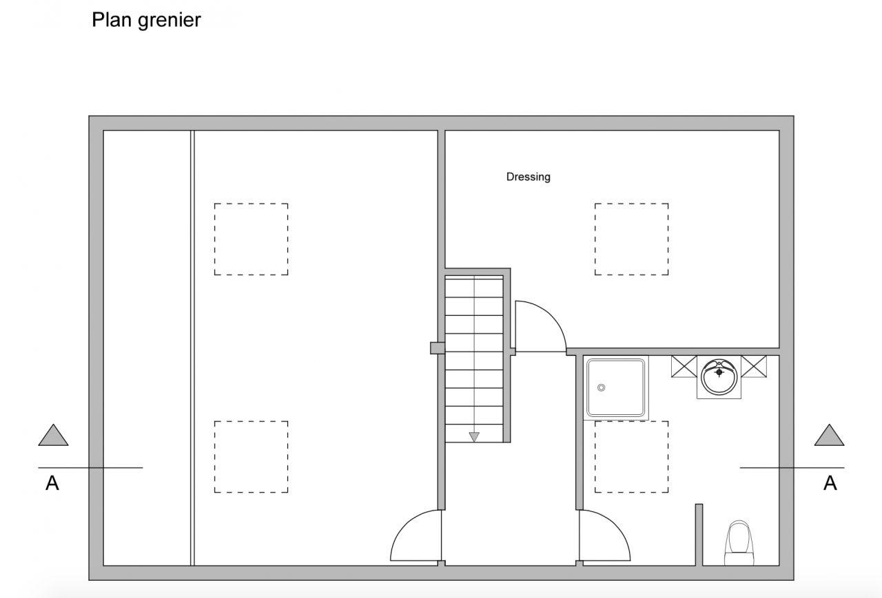Plan du deuxième étage. <br /> J'ai inversé la partie dressing et la SDB