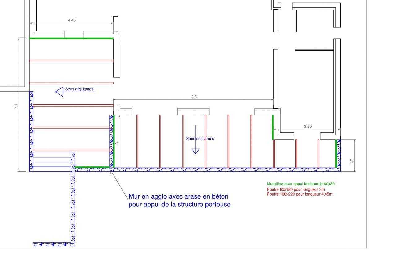 Structure prévue pour la terrasse.