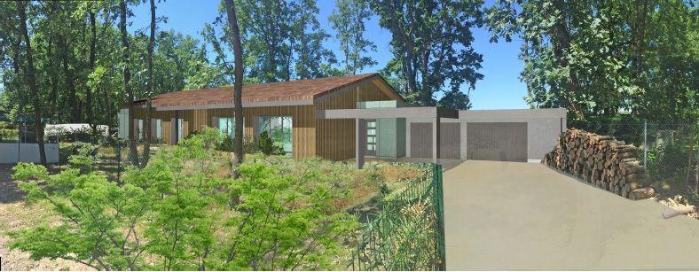 Le visuel présent sur le permis de construire. <br /> Le double garage est en toit plat pour respecter le PLU en limite de propriété. <br /> Le cube de l'entrée est aussi en toit plat et ses murs seront recouverts de plaques de résine ainsi que les façades côté nord (Fundermax). <br /> Le reste sera en bardage bois.