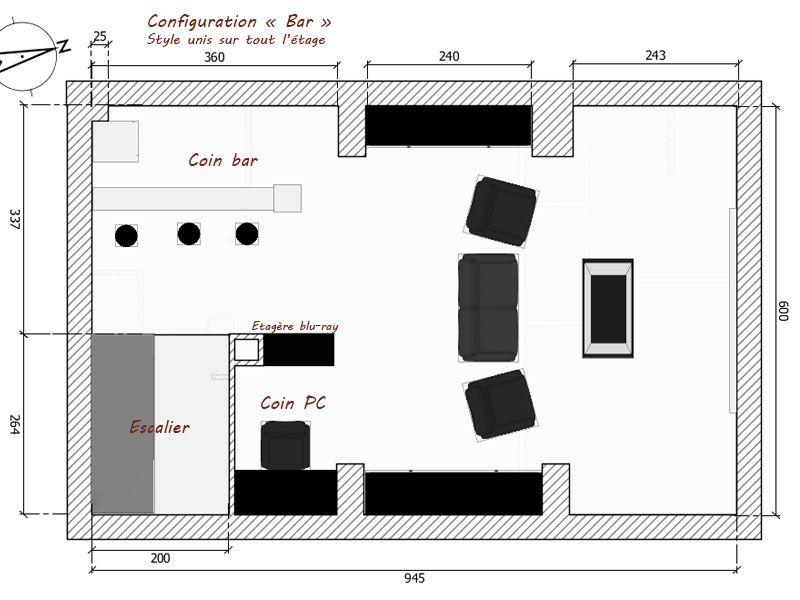 """J'hésite entre plusieurs configuration de l'étage - ici la version """"Bar"""""""