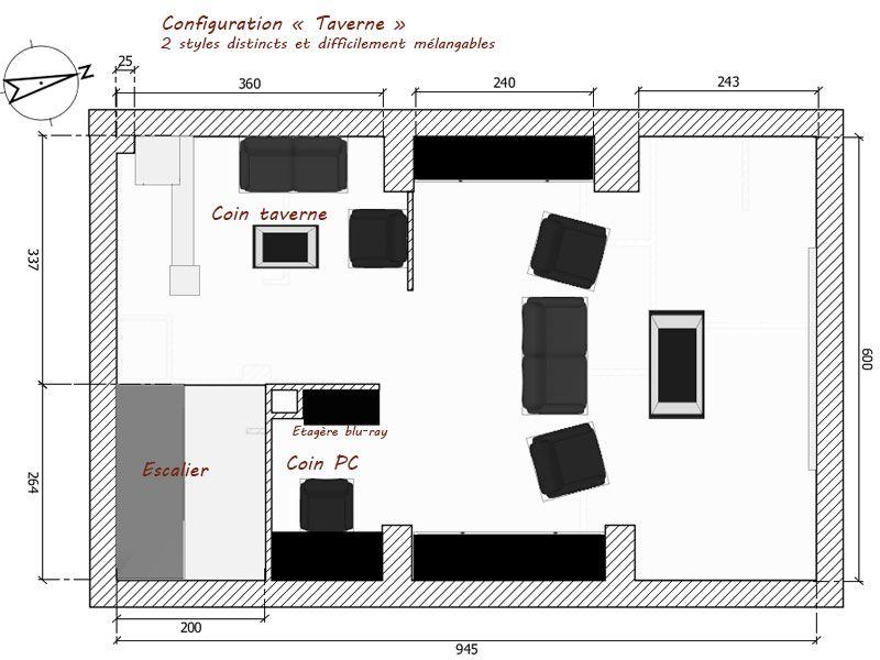 """J'hésite entre plusieurs configuration de l'étage - ici la version """"Taverne"""""""