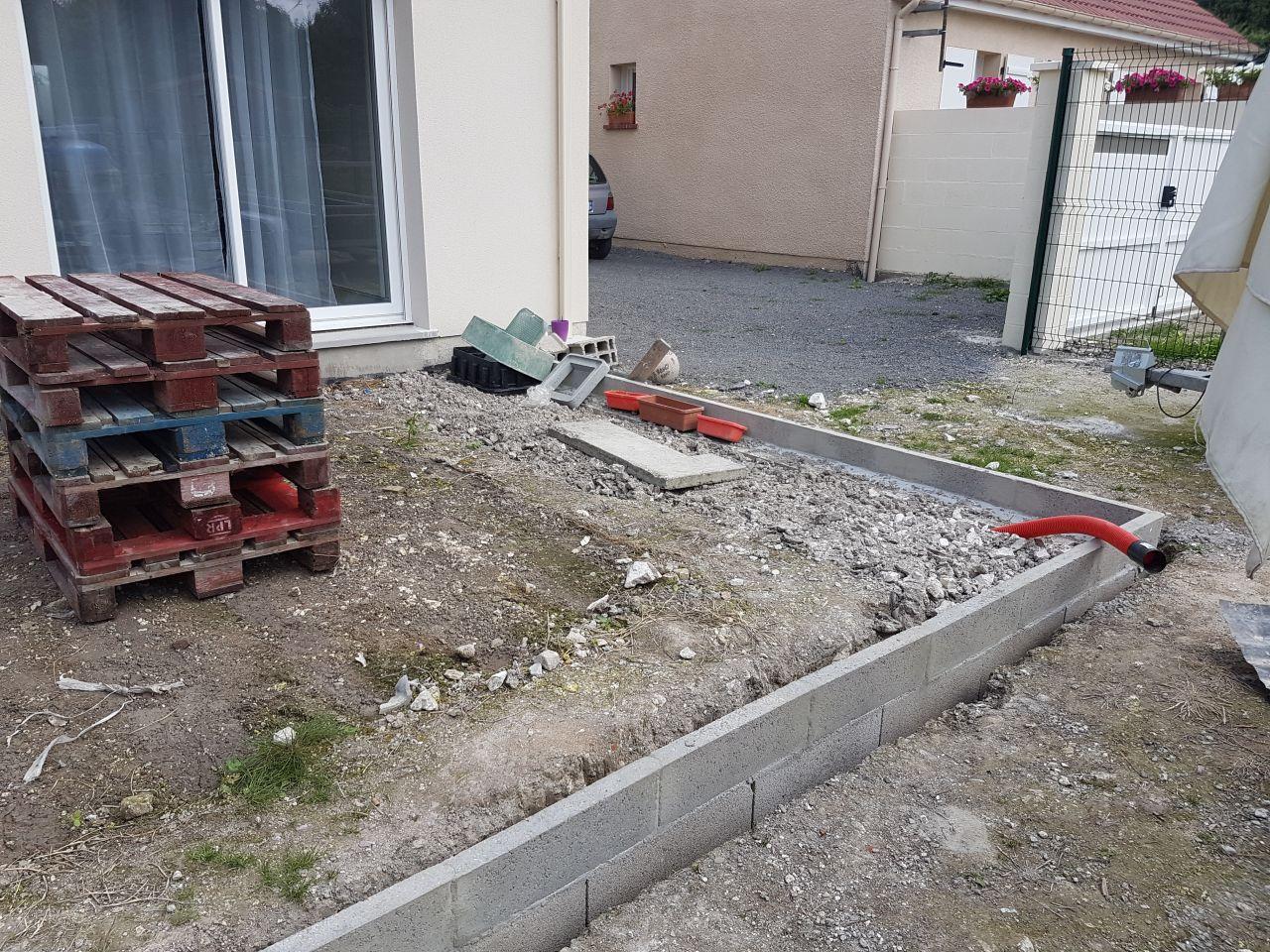 Enduit b timent terrasse en cour engazonnement terrain for Prix engazonnement