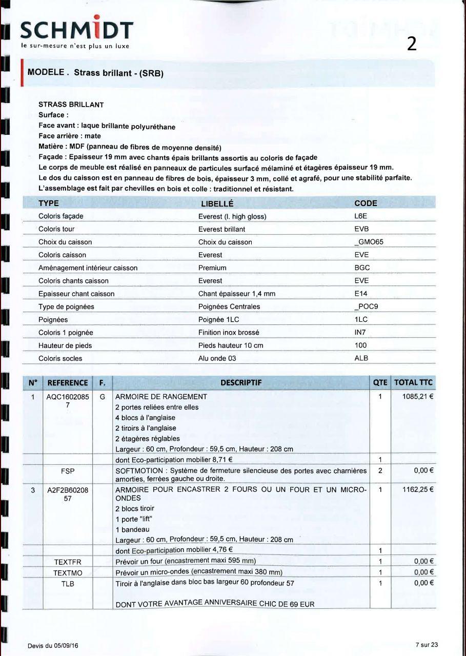 Avis sur implantation et tarif cuisine schmidt 37 for Tarif cuisine schmidt