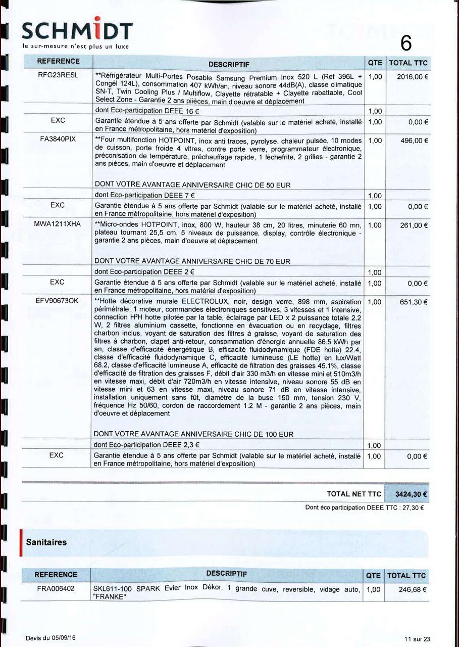 Avis sur implantation et tarif cuisine schmidt 37 messages page 2 - Tarif cuisine schmidt ...