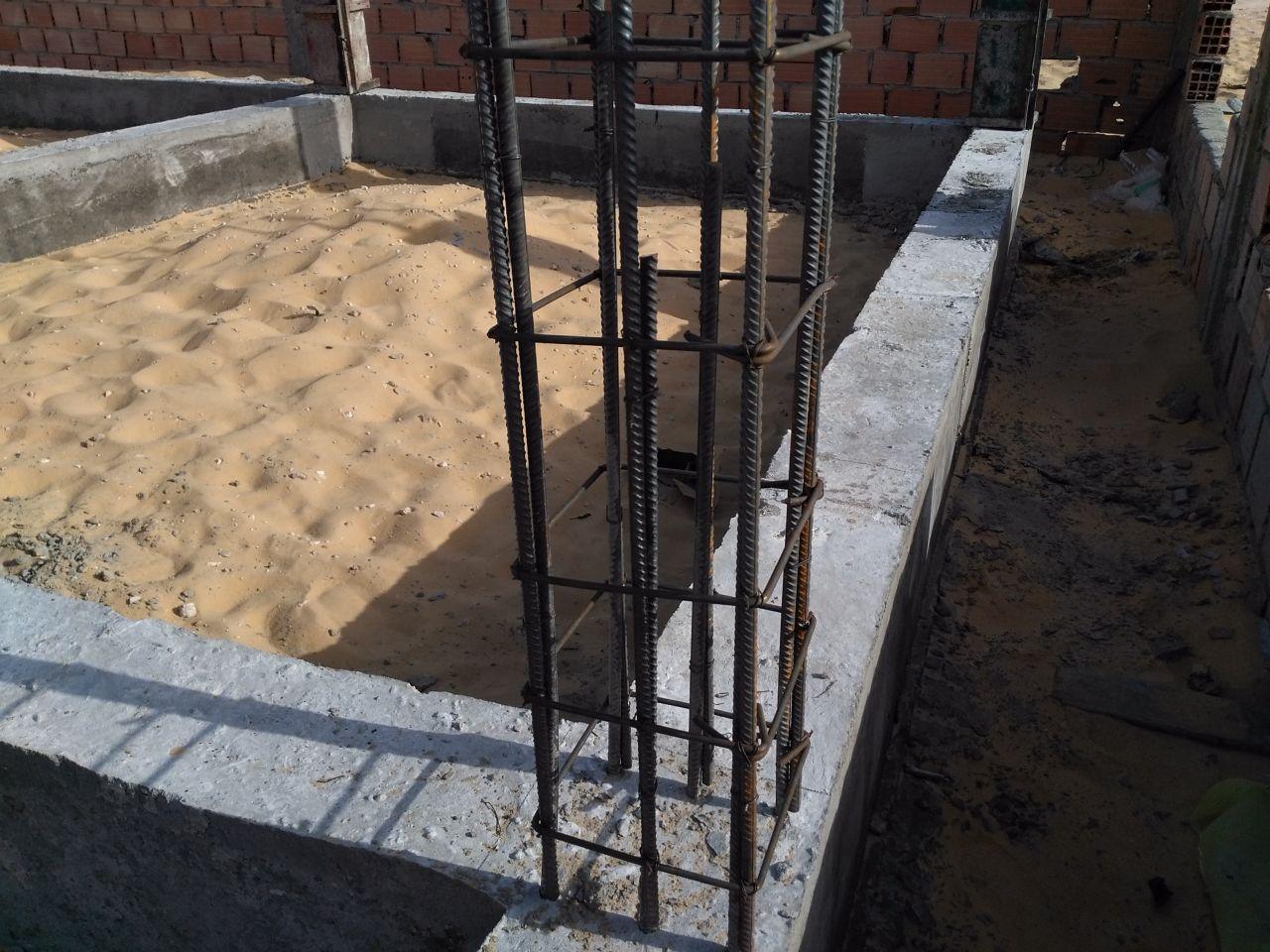 Mise en place du ferraillage des poteaux