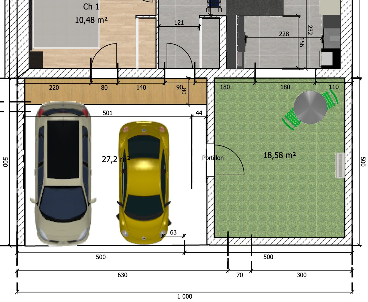Aménagement prévu devant la maison : jardinet pour que la baie vitrée ne donne pas sur la rue, surface de stationnement un peu plus grand que 5x5 pour garer 2 voitures et passer