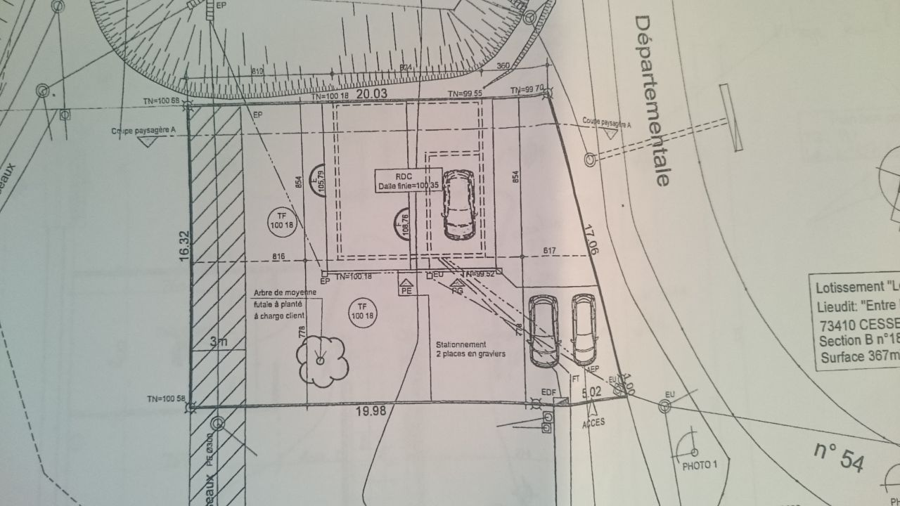 Implantation sur terrain, recule de 3m à respecter en limite EST (route départementale)