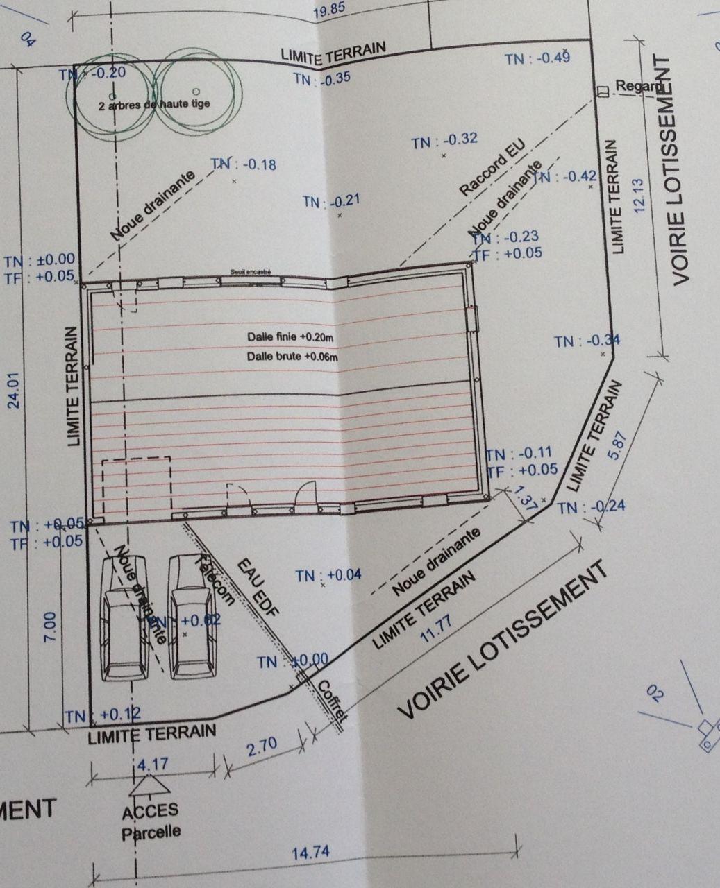 L'implantation de la maison sur le terrain.