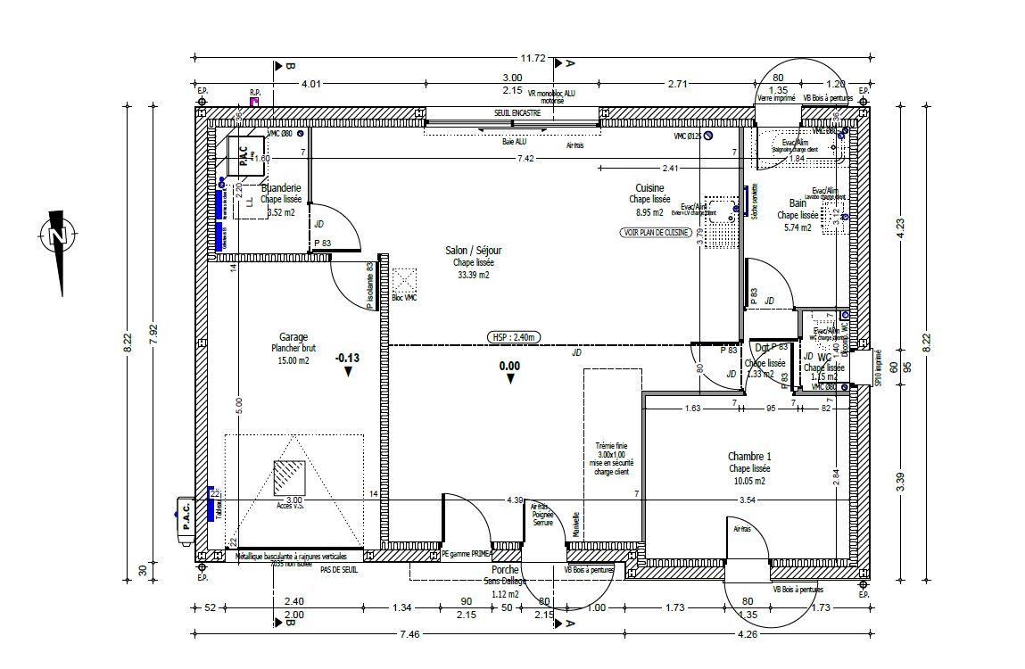 Plan du rez de chaussée (les combles seront aménagés ultérieurement