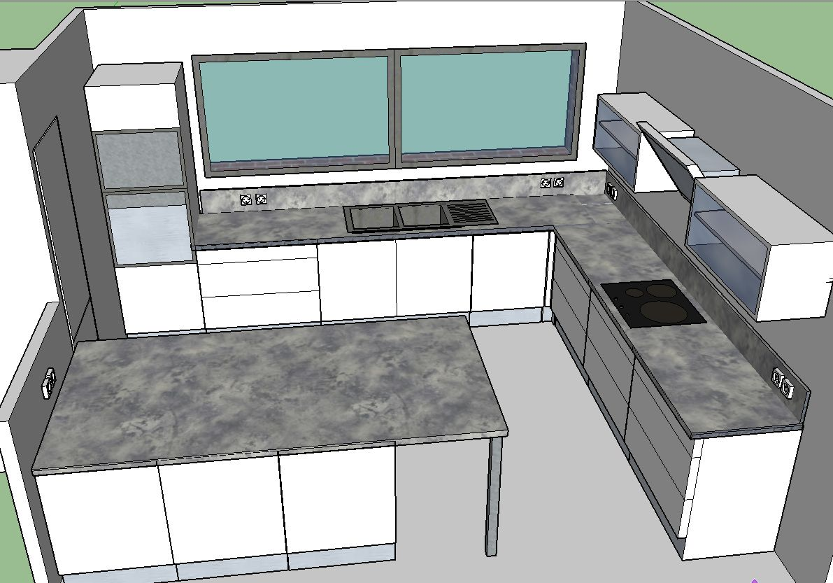Implantation cuisine sketchup