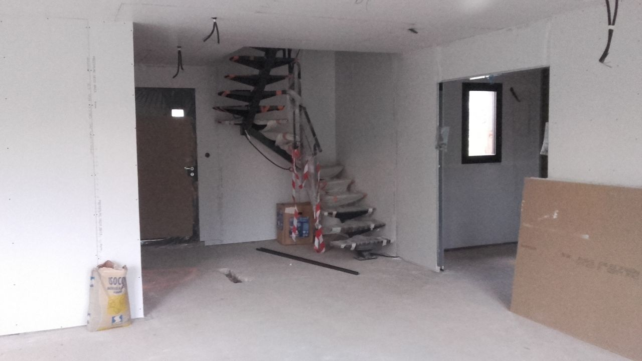Placo, escalier, porte double galandage