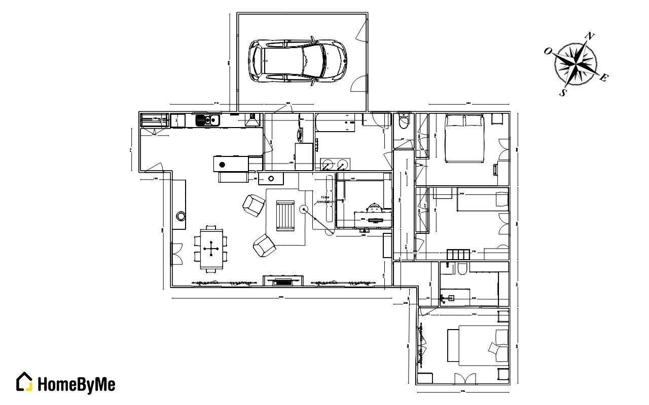 Plan maison 110m plain pied 127 messages for Plan maison garage a droite
