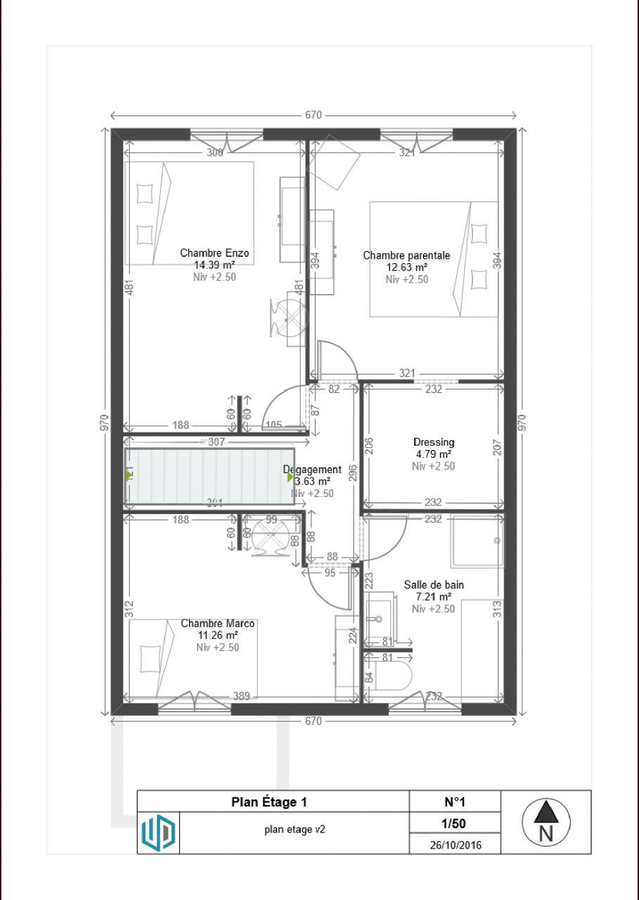 plan maison r 1 90m2. Black Bedroom Furniture Sets. Home Design Ideas