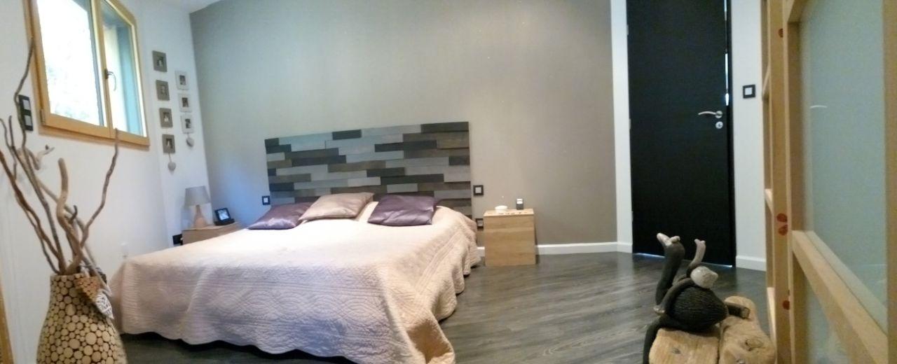 photo t te de lit r alis e avec un parement bois carbone lapeyre d coration espace parental. Black Bedroom Furniture Sets. Home Design Ideas
