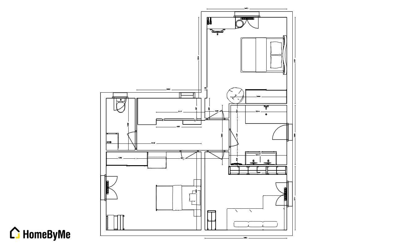 plan étage 2D