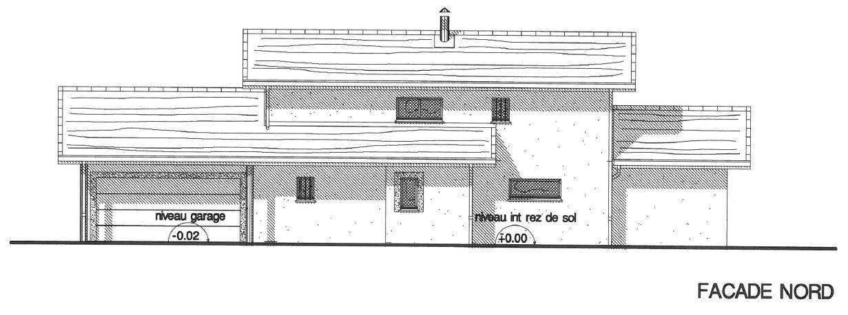 """Vue de la façade nord avec garage double à gauche et porte d'entrée """"cachée"""" au centre, perpendiculaire à la vue. L'ensemble porte garage/entrée est sous abri grâce au prolongement de la toiture."""