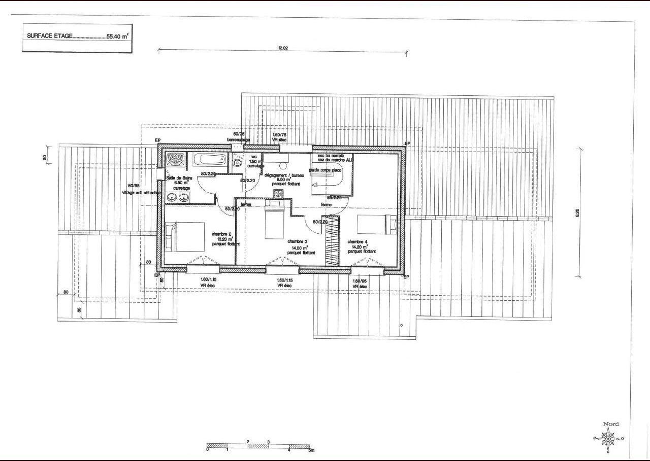 Plan de l'étage. 3 chambres (dont 2 grandes pour les enfants et 1 plus petite pour faire salle de jeux/chambre d'amis)