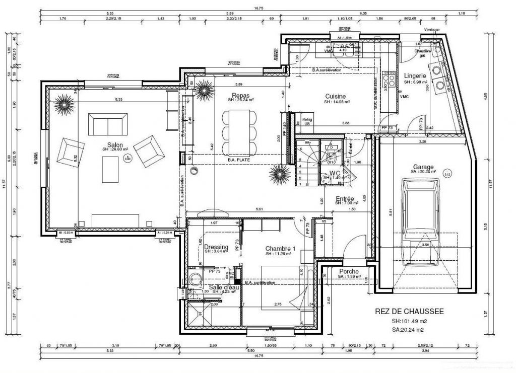 Plan de maison 200m2 interesting plan de villa basse for Plan de maison 200m2