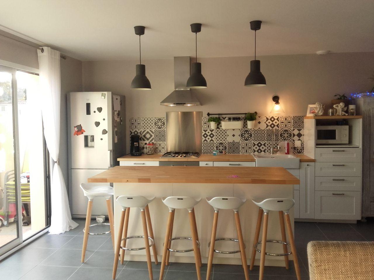 Cuisine 44m2 cuisine meubles blancs - Bedarrides (Vaucluse - 84) - décembre 2016